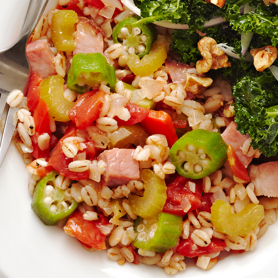 This Cajun-inspired ham and barley meal is made in one pot for easy cleanup. Serve it with a kale salad for a complete meal.