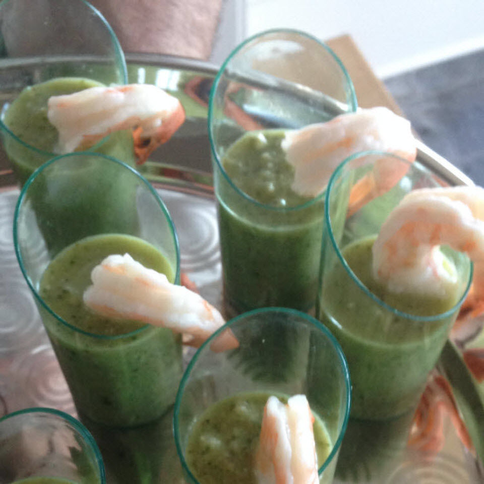 Appetizer Cucumber Gazpacho with Shrimp