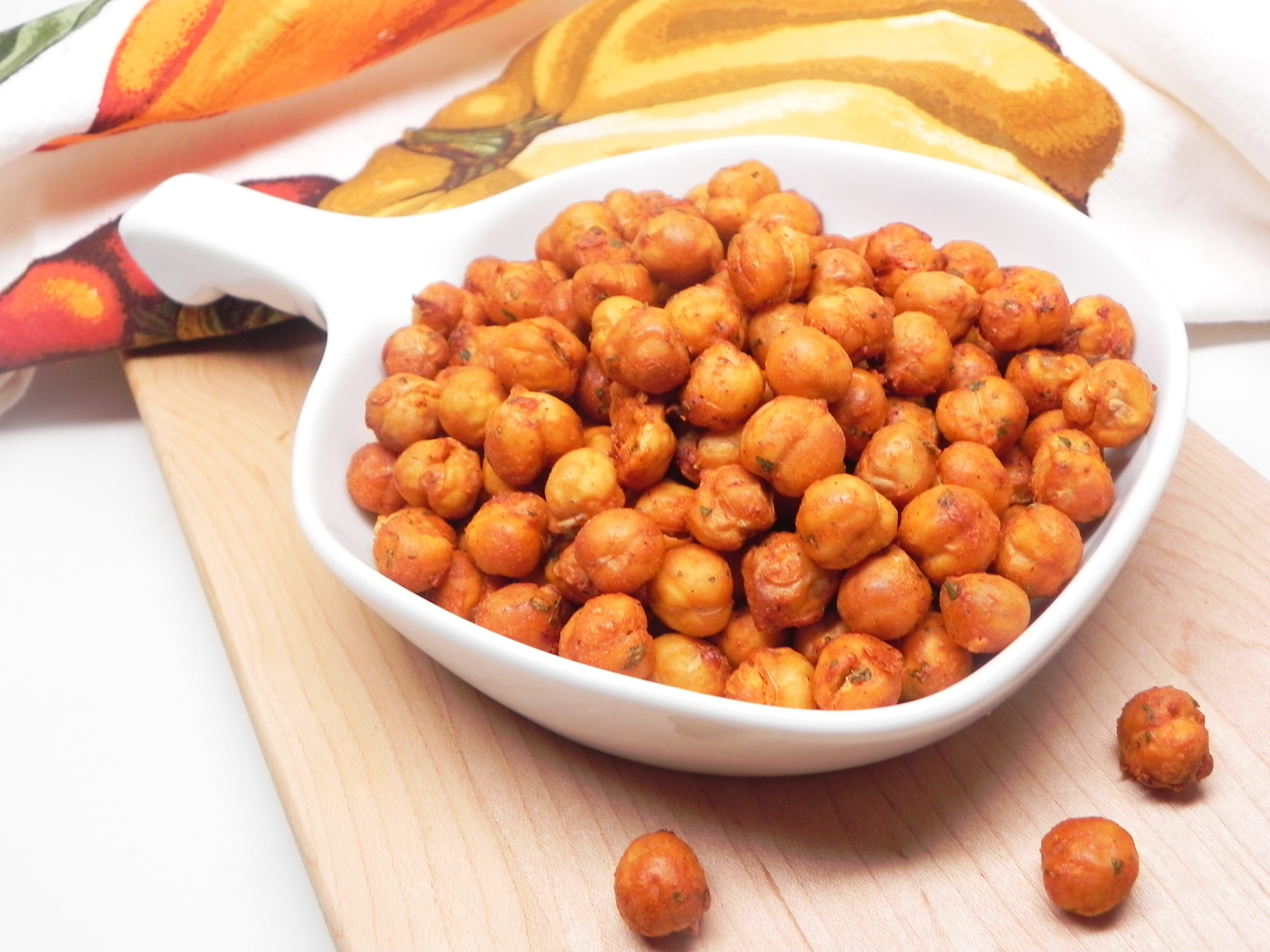 "You'll toss the chickpeas with dry ranch dressing mix and buffalo wing sauce and then air fry in an even layer.  ""Great flavor with a hint of heat,"" raves France C. ""Nice and crunchy, it's hard not to eat the whole batch by myself!"" You might also like Air Fryer Salt and Vinegar Chickpeas."