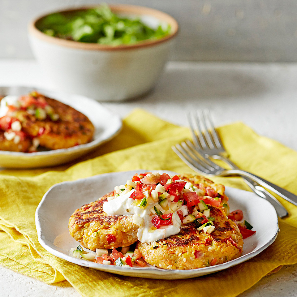 These delicious veggie patties are a great side dish, but can also be a fulfilling and meatless main meal. Ready in just 35 minutes, the patties are made with garbanzo beans, zucchini and carrot and are served topped with Greek yogurt and an oregano-flavored vegetable topping. Source: Diabetic Living Magazine