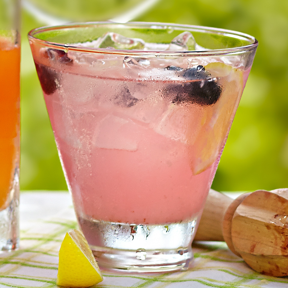 "The classic Tom Collins cocktail just got a bit of an upgrade! With a touch of sweet honey and lots fresh blueberries, this drink will have yours guests asking, ""Tom who?"" Source: Diabetic Living Magazine"