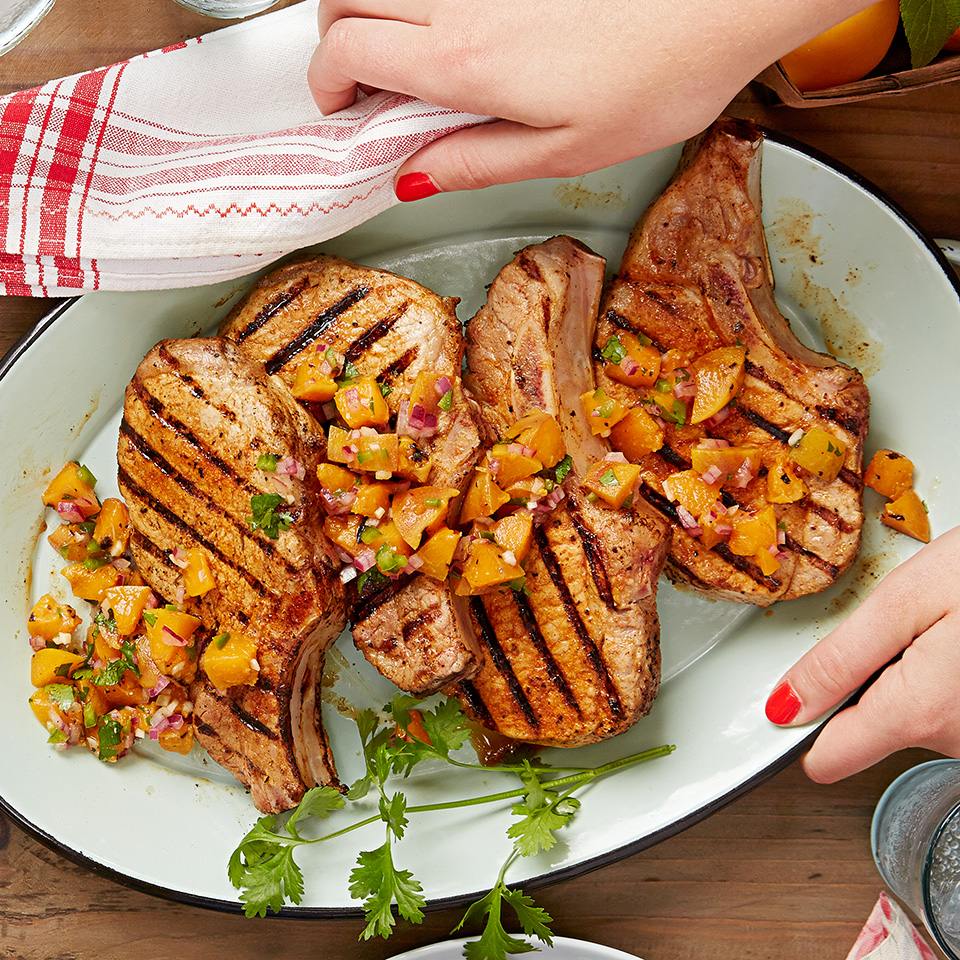 Your grill does double duty in this meal! Grilled apricots take center stage in a zesty salsa which tastes delicious with the chipotle flavored grilled pork chops. Source: Diabetic Living Magazine