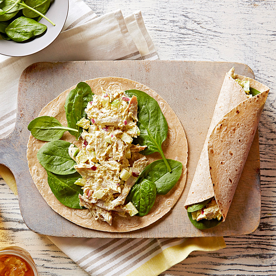 Shredded chicken and chopped green apples are a delightful combination in this quick and easy curried sandwich wrap. Source: Diabetic Living Magazine