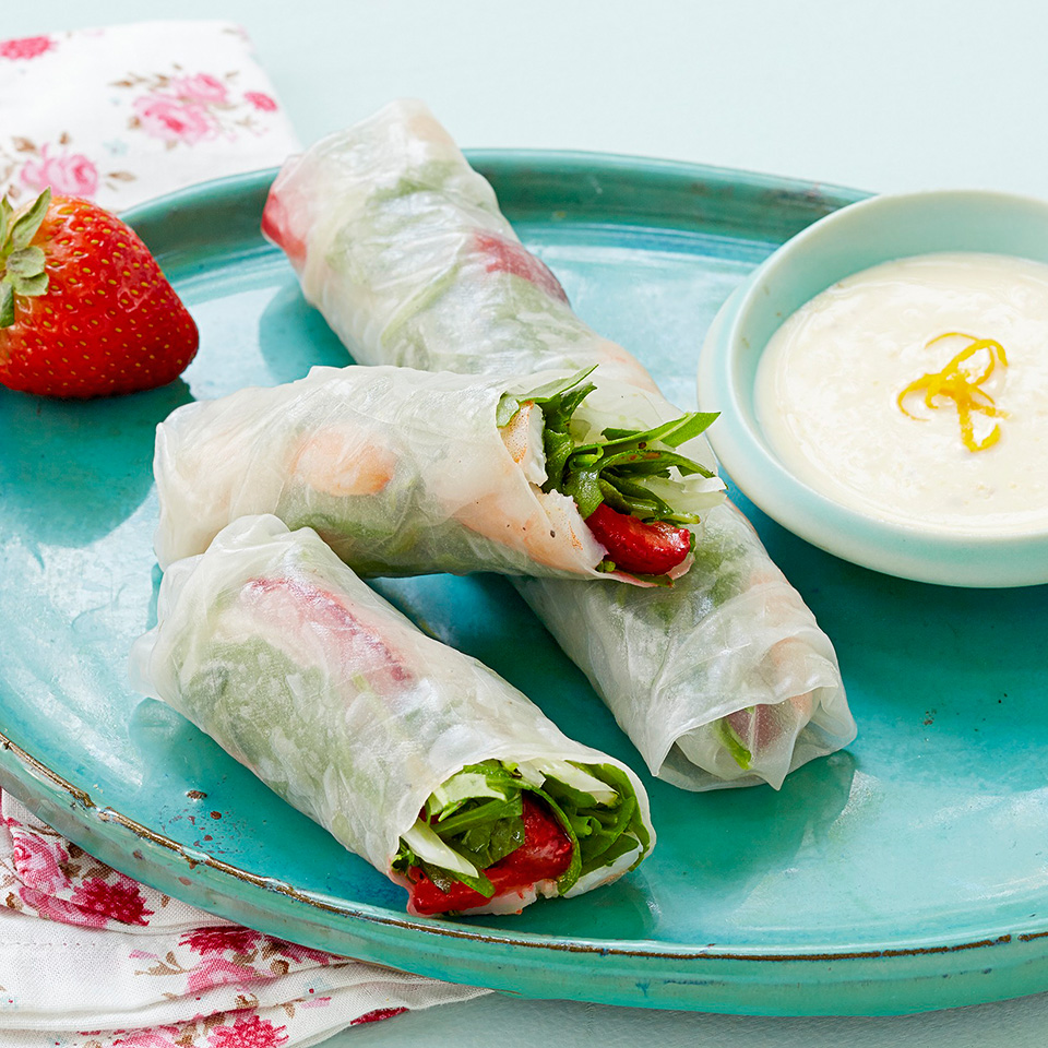 Shrimp and Strawberry Spring Rolls with Creamy Orange Dipping Sauce Trusted Brands