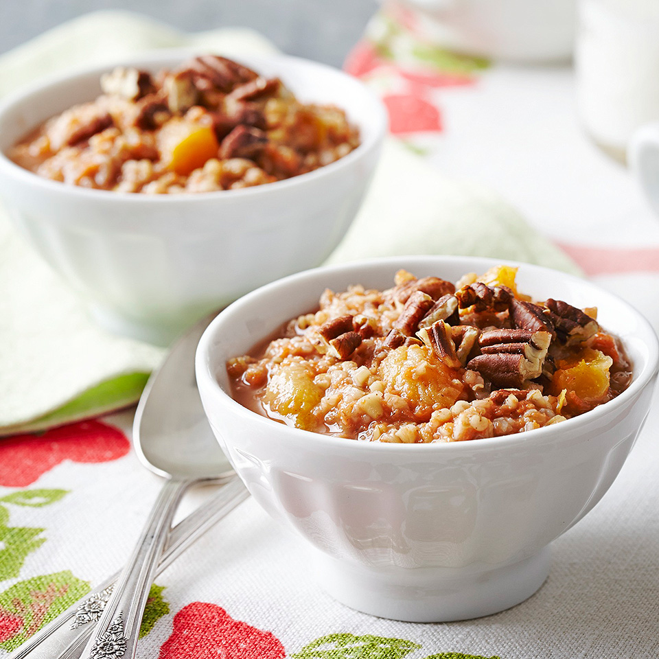 Incorporating oats into your diet may help lower blood pressure and reduce the risk for type 2 diabetes. These steel-cut oats are combined with shredded carrots and snipped apricots and flavored with cinnamon, allspice and ginger. Steel-cut oats take a bit longer to cook, so make them ahead and reheat before serving.