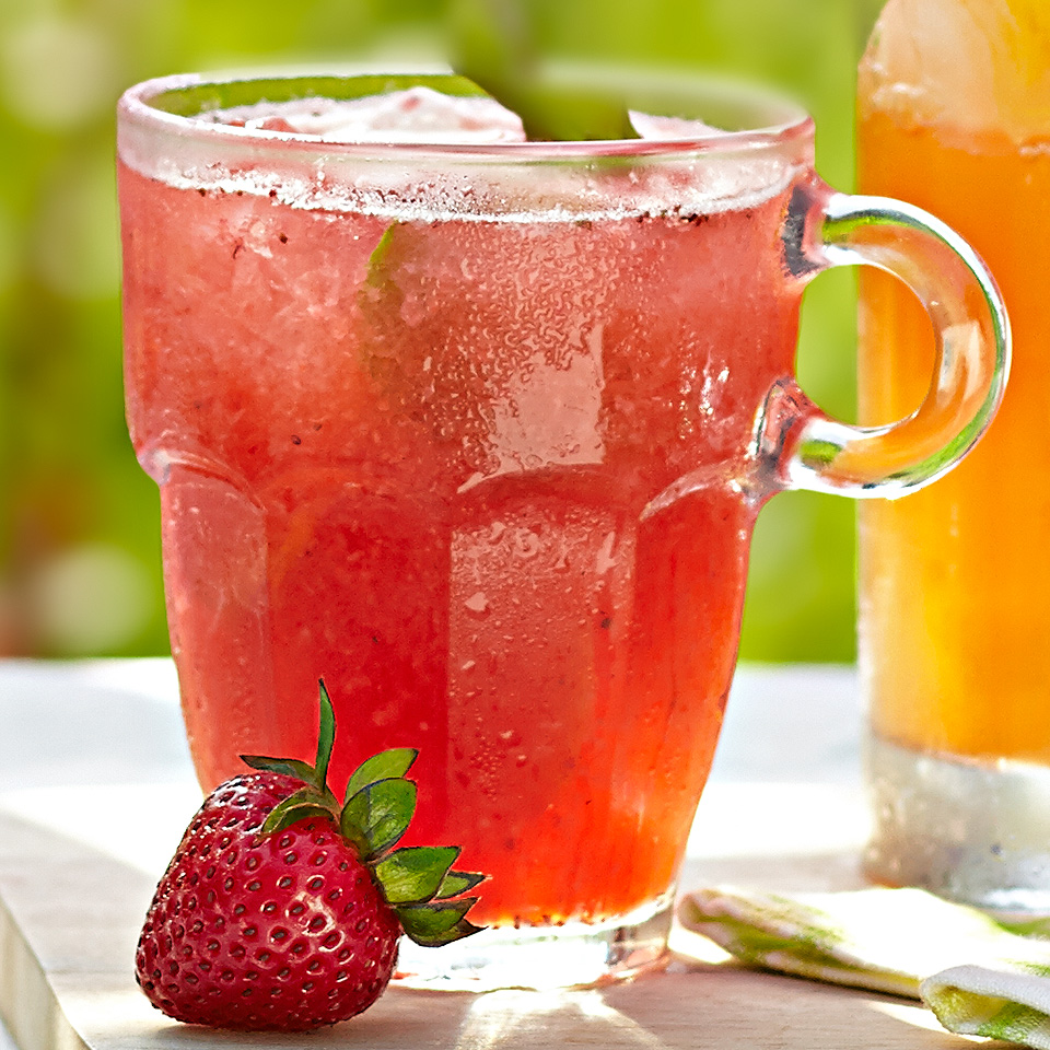 This non-alcoholic cocktail is a refreshing blend of fresh strawberries, ginger ale and lime juice drink. It gets added flavor and a bit of zing from basil and ginger slices. Source: Diabetic Living Magazine