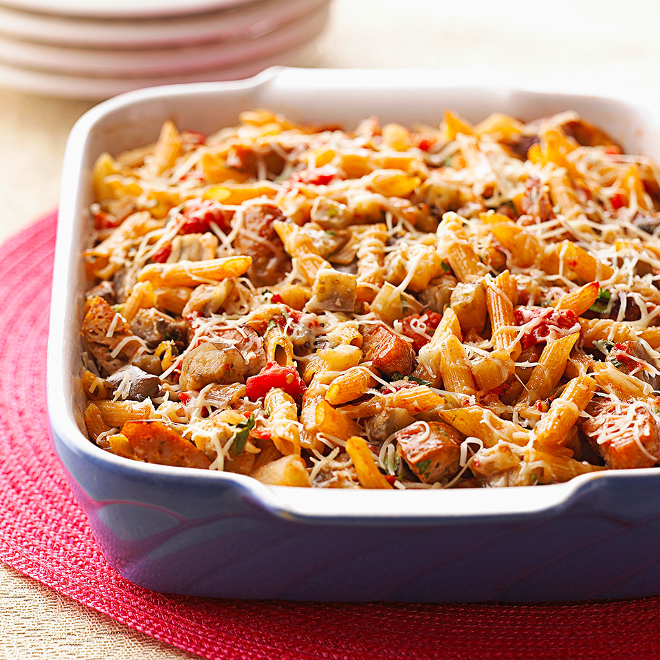 In the mood for Italian? Try this low-fat sausage-and-eggplant one-dish meal recipe.Source: Diabetic Living Magazine