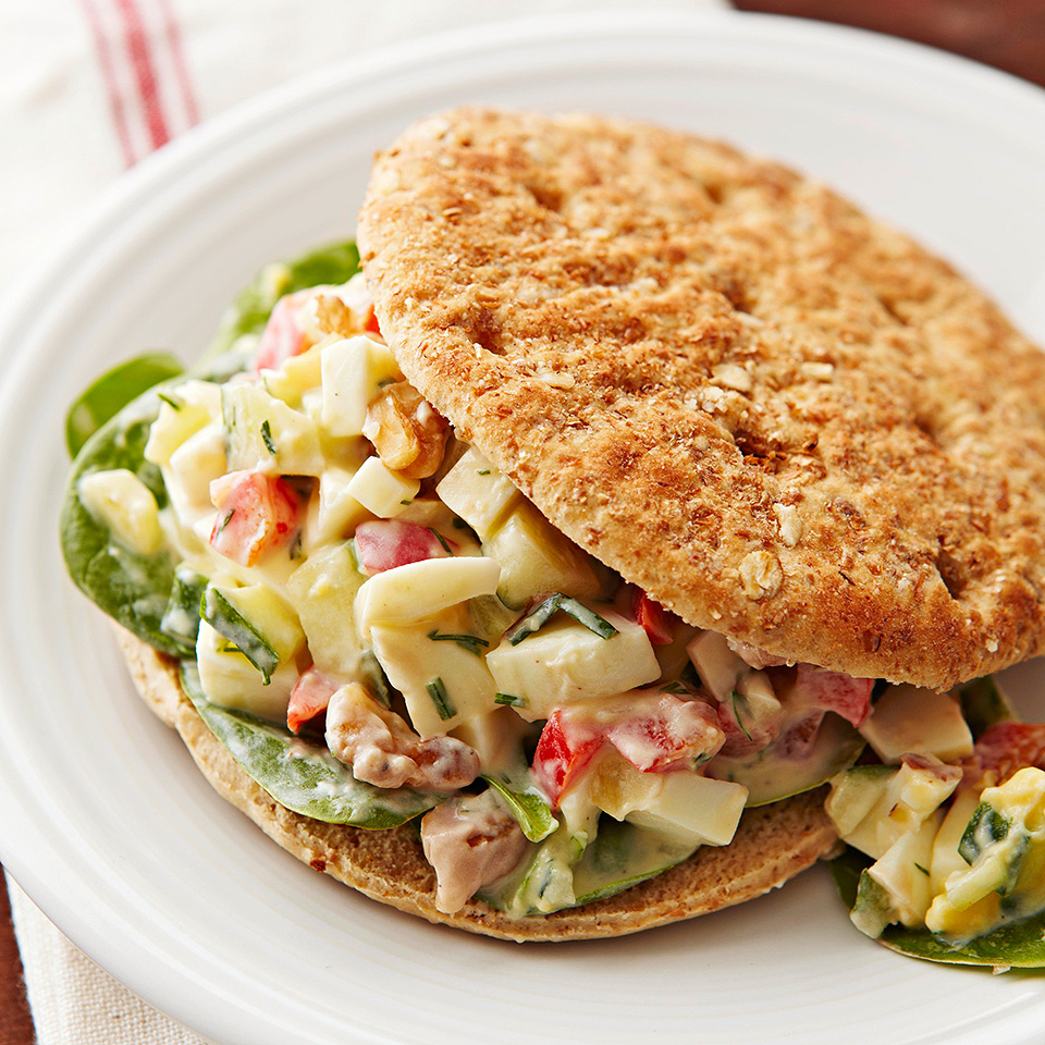 Chopped cucumbers and walnuts add a welcome crunch to this tasty sandwich.Source: Diabetic Living Magazine
