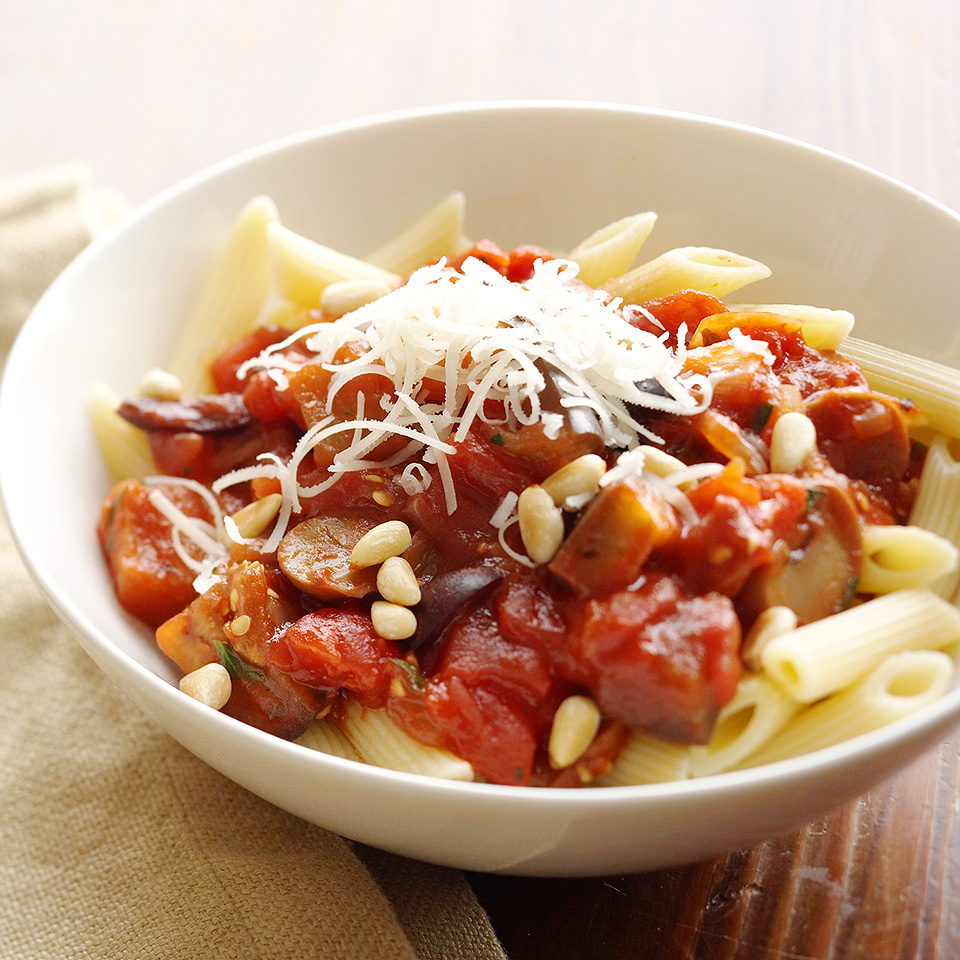 Tender chunks of eggplant take the place of ground beef or sausage in this vegetarian pasta sauce recipe, which is made in your slow cooker. Source: Diabetic Living Magazine