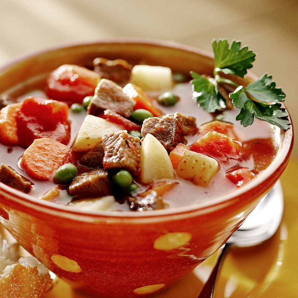 Less than 30 minutes of prep is all that's needed before this beef and vegetable soup goes into the slow cooker. It's a warm, hearty, one-bowl meal for fall and winter nights. Source: Diabetic Living Magazine