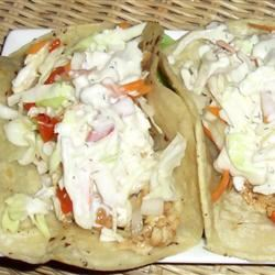 Tilapia Fish Tacos with Red Pepper-Lime Slaw and Blue Cheese Aioli