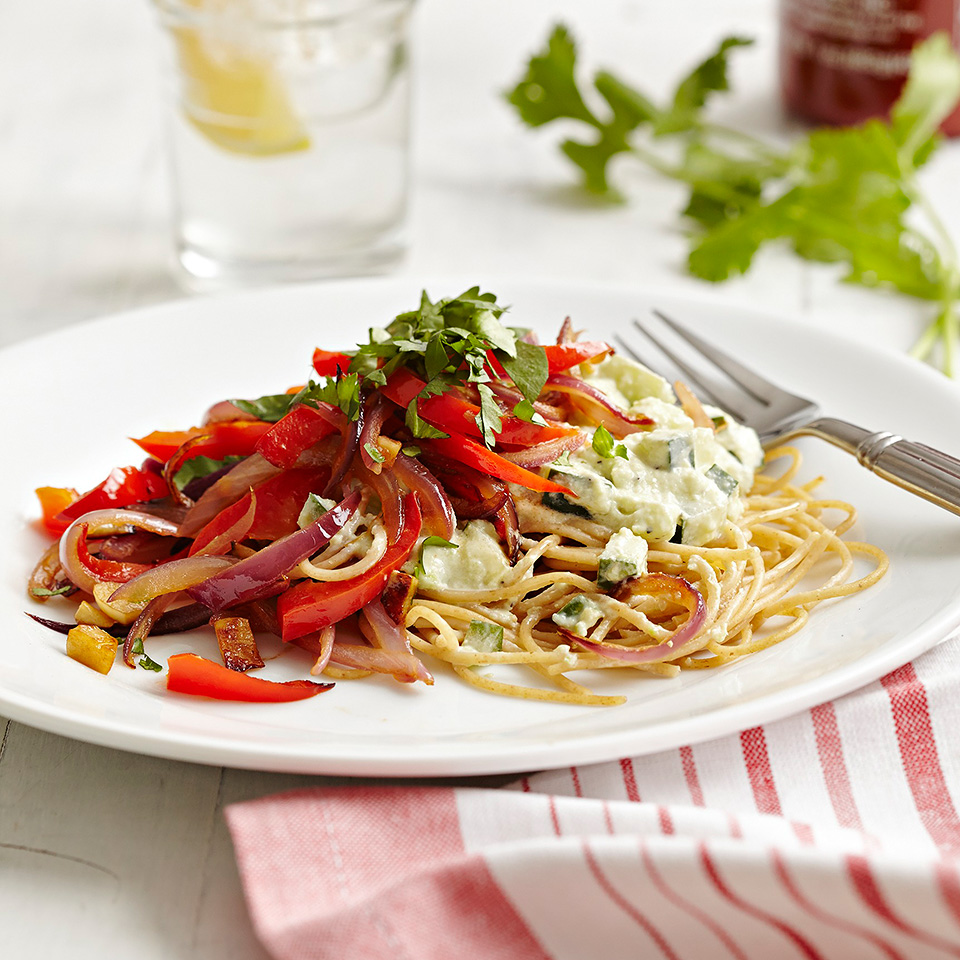 Avocado and Yogurt Pasta Sauce with Veggies Diabetic Living Magazine