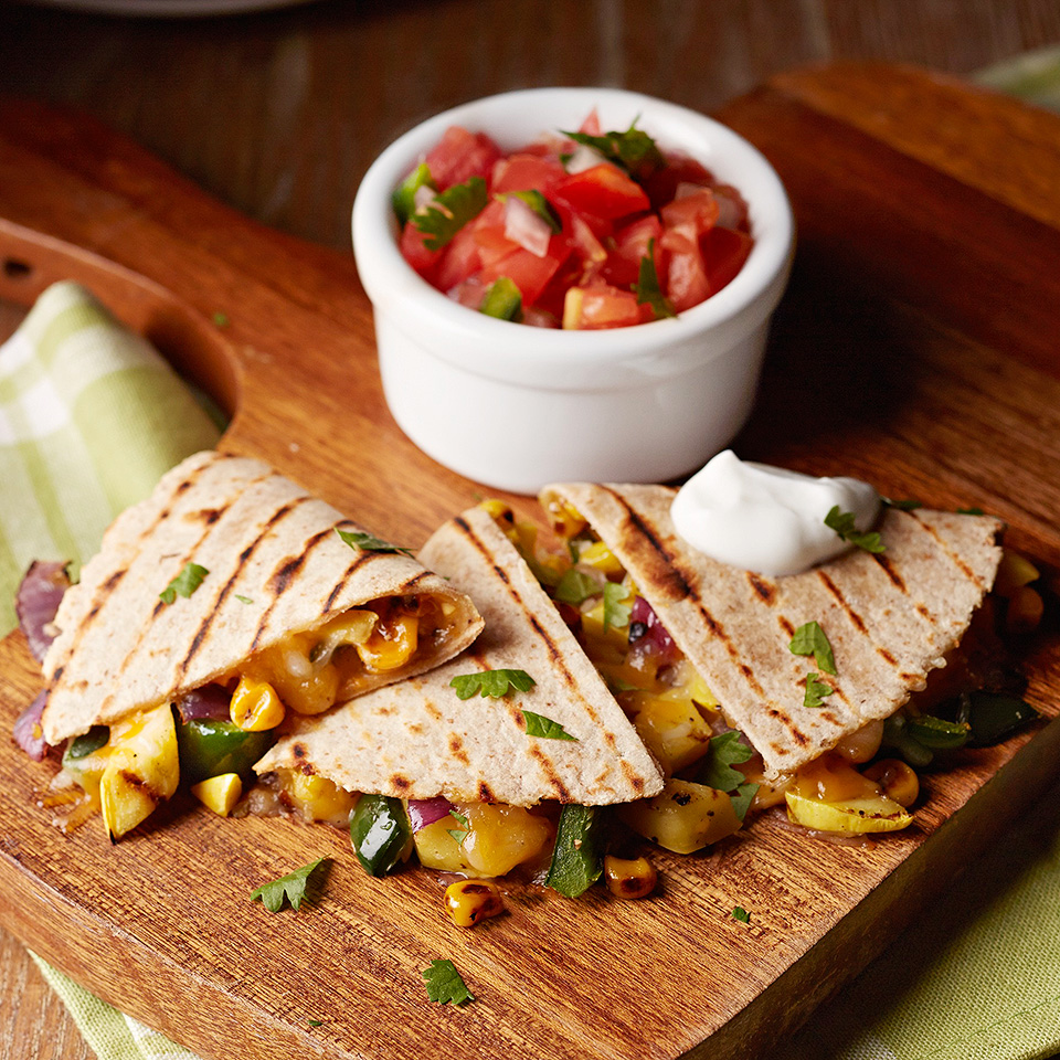 This classic quesadilla recipe uses a reduced-fat Mexican cheese blend and fat-free yogurt, making it a better-for-you lunch or dinner option. Source: Diabetic Living Magazine