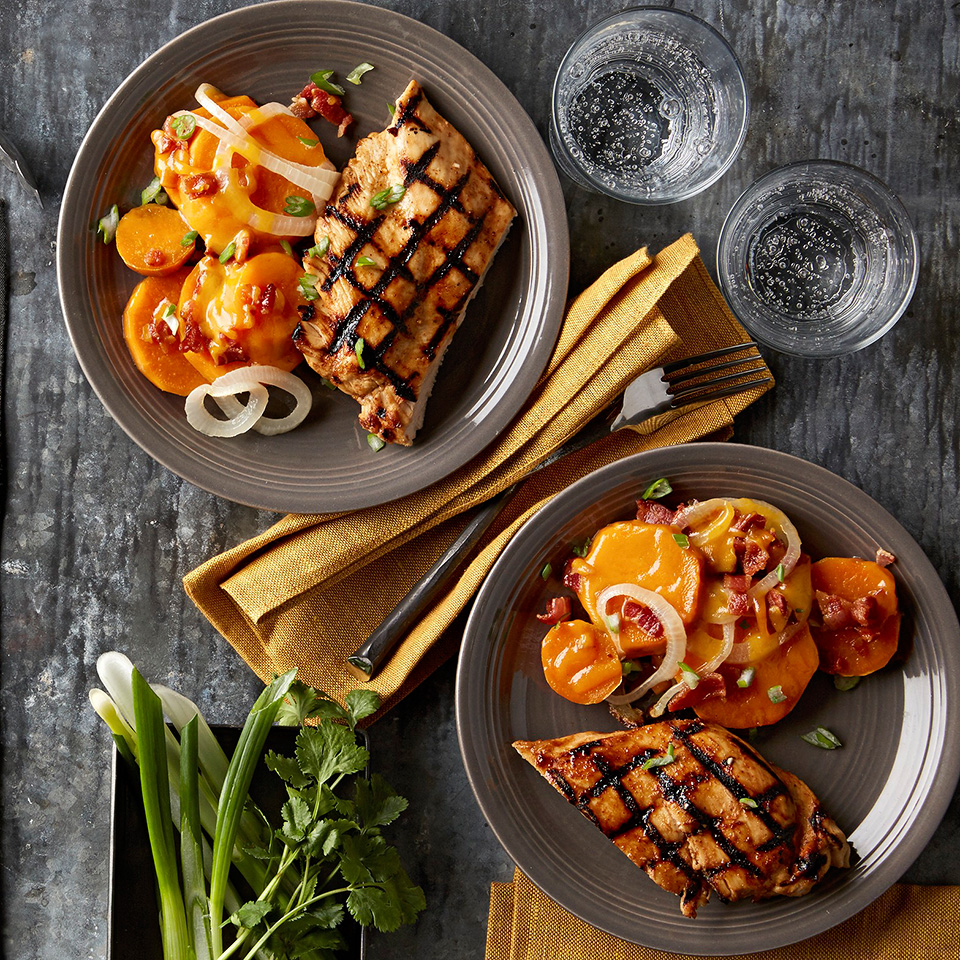 Maple-Bourbon Chicken with Grilled Sweet Potatoes Trusted Brands