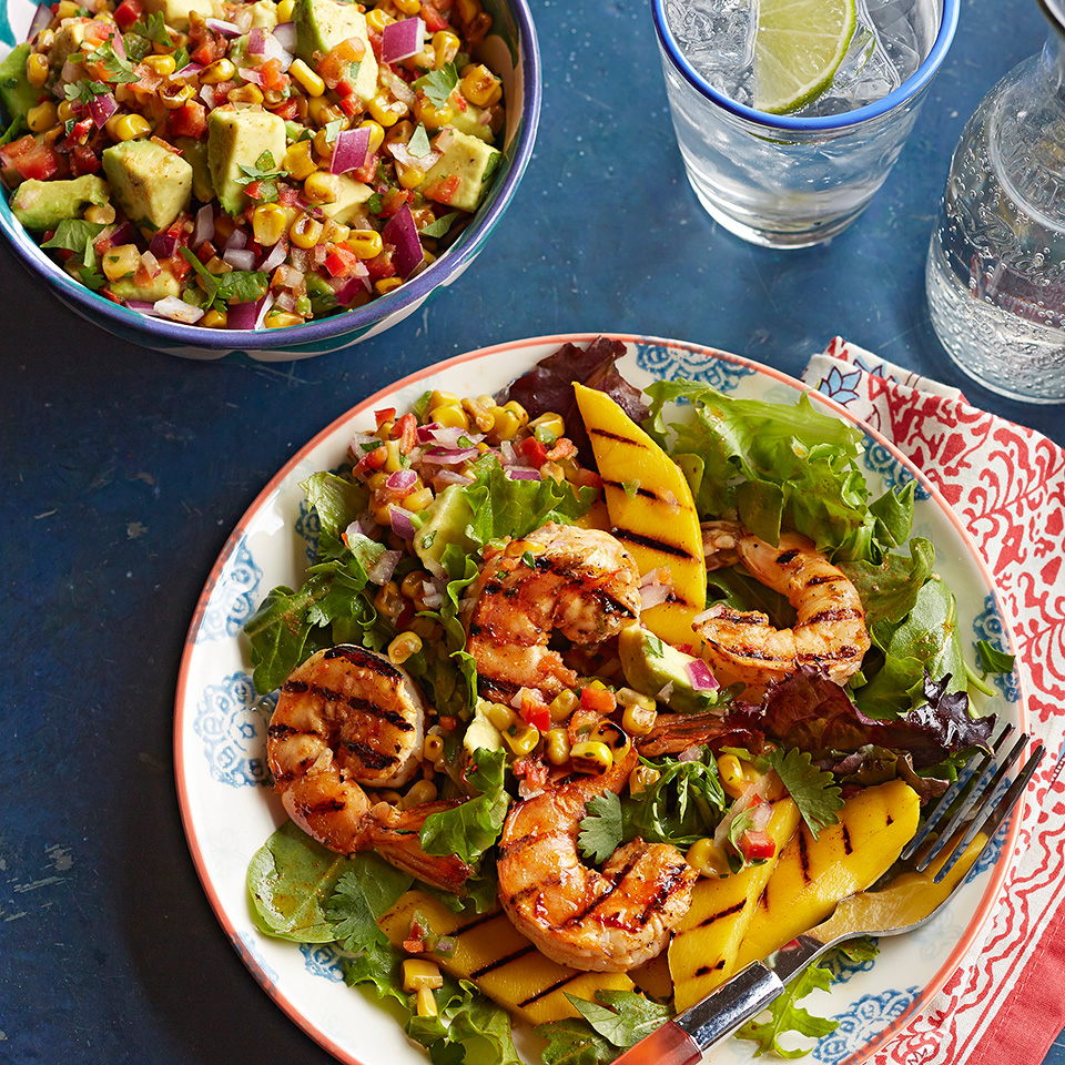 Shrimp and Mango Adobado Salad with Grilled Corn-Avocado Salsa Trusted Brands