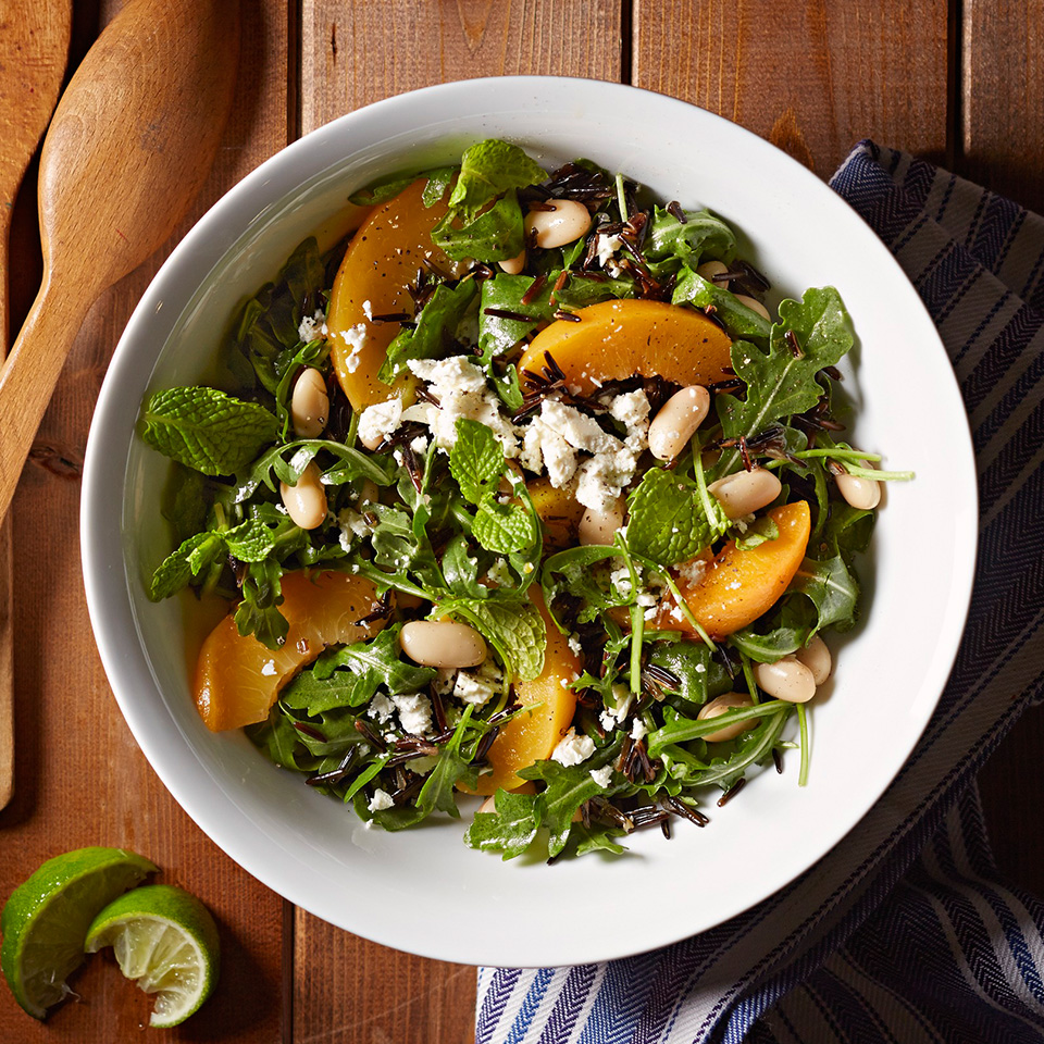 An unexpected combination, but one worth trying! Peaches, feta, and arugula add some pizzazz to your rice.Source: Diabetic Living Magazine