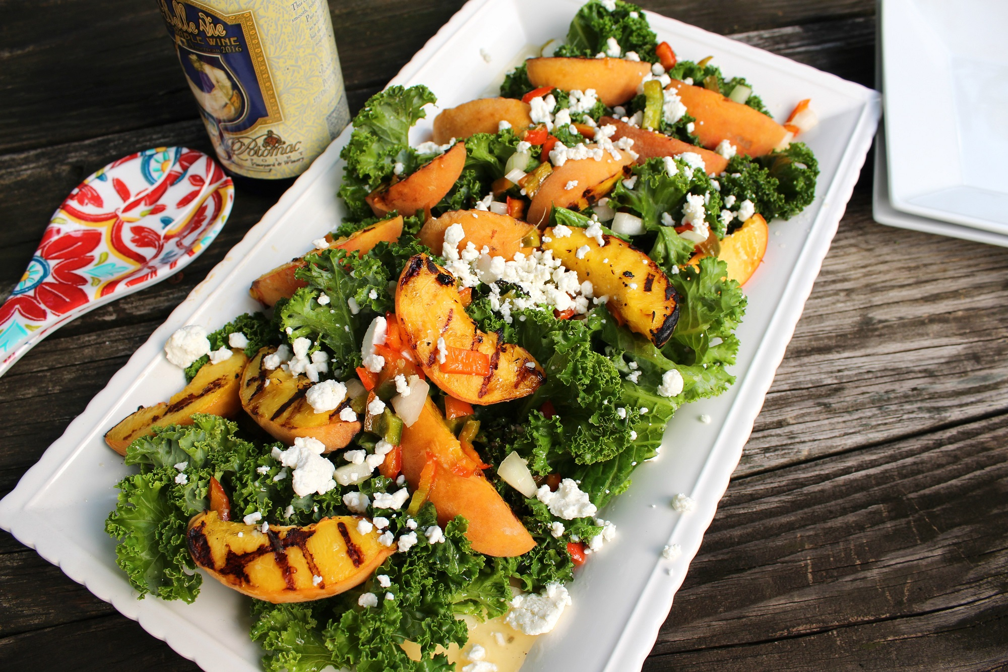 Warm Grilled Peach and Kale Salad