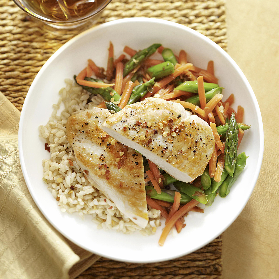 This quick-and-easy meal combines crisp-tender vegetables, brown rice and chicken in a tasty Asian-inspired sauce. Not in the mood for soy and ginger? No problem. We've included two simple variations with lemon and Italian flavorings. Source: Diabetic Living Magazine