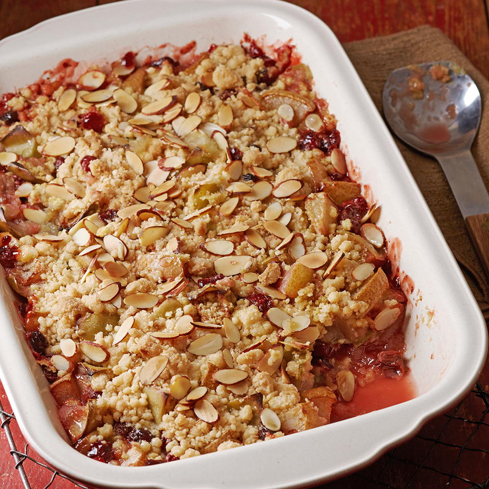 """No special cooking knowledge is needed for this fruity dessert recipe. You literally """"dump"""" the ingredients into a baking dish, pop it in the oven and enjoy.Source: Diabetic Living Magazine"""