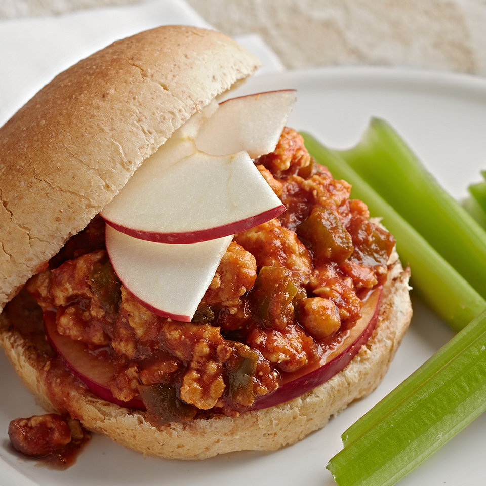A sloppy joe is typically made with ground beef and a spicy tomato sauce, but not this one! This makeover sandwich combines lean ground chicken breast with green peppers, and is topped with sweet apple slices. Source: Diabetic Living Magazine