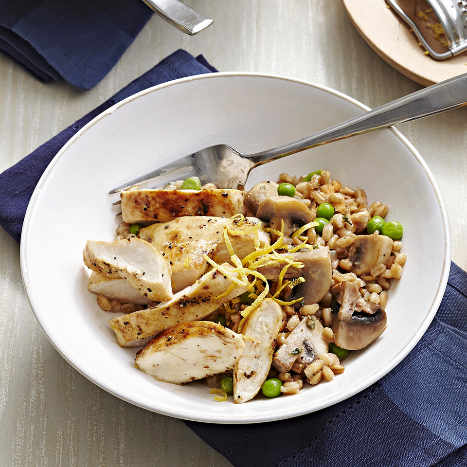 Farro is chewier than Italian rice and adds an earthy flavor to the lemon-pepper chicken and spring peas in this tasty risotto recipe. Source: Diabetic Living Magazine