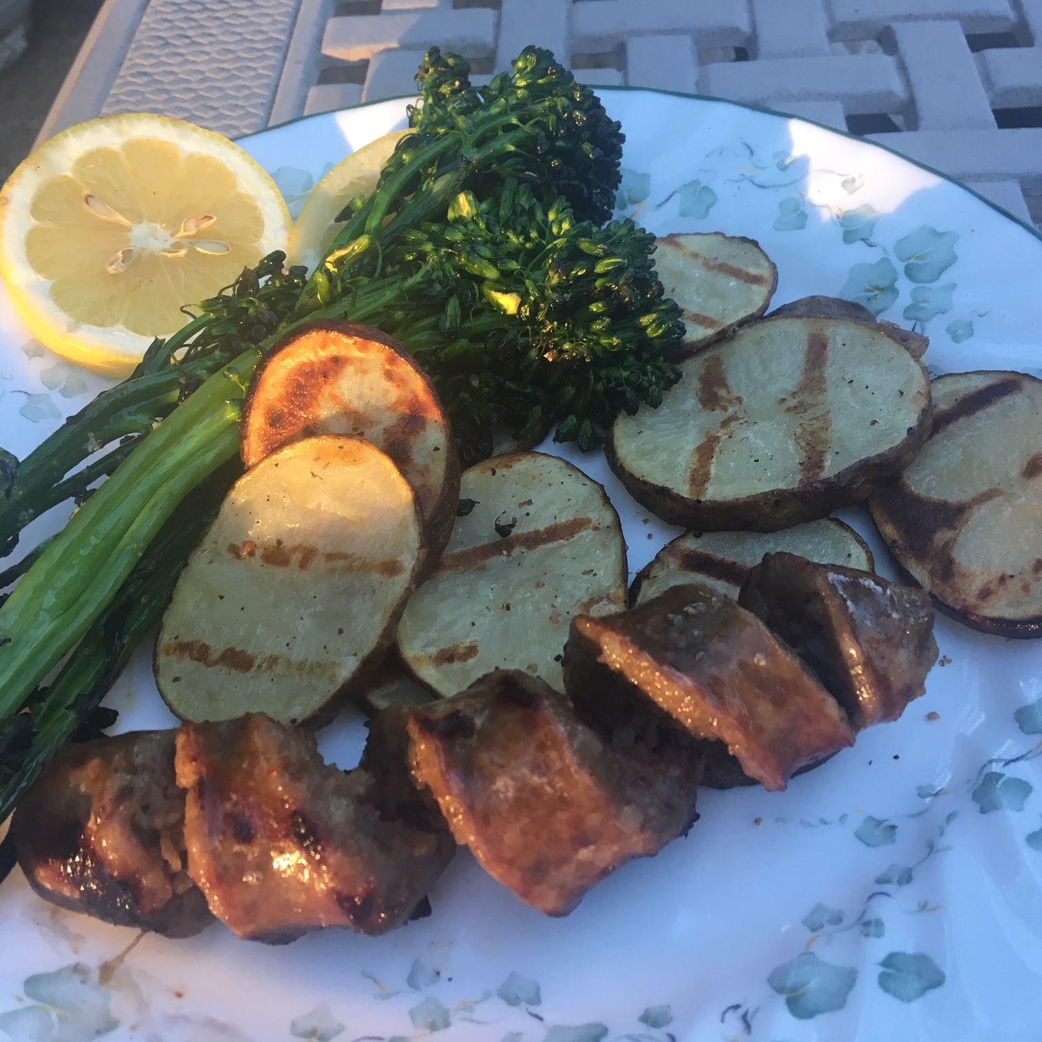 Grilled Steak with Blue Cheese, Potatoes, and Broccolini Howard