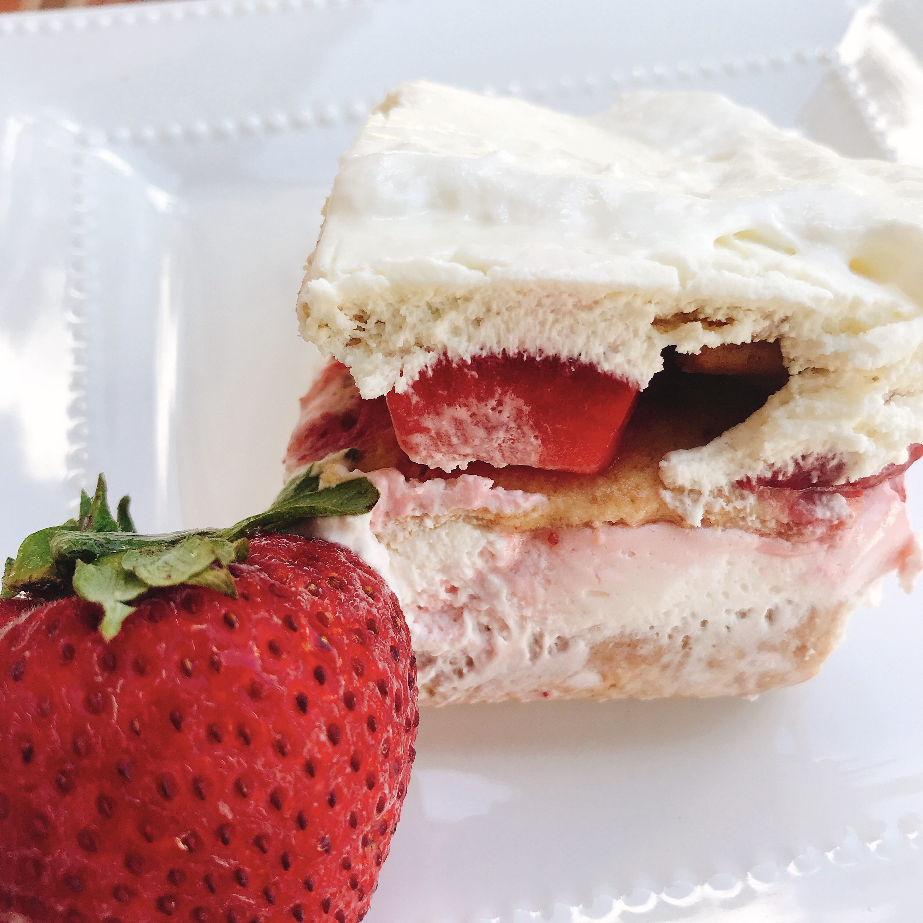 If you can hold yourself back from diving in fork-first immediately after building this beauty, it actually gets better with age. Okay, it gets better after chilling for about four hours so the graham crackers soften slightly and the berries and cream join forces just enough.