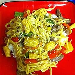 fresh vegetable stir fry with peppery orange beef recipe
