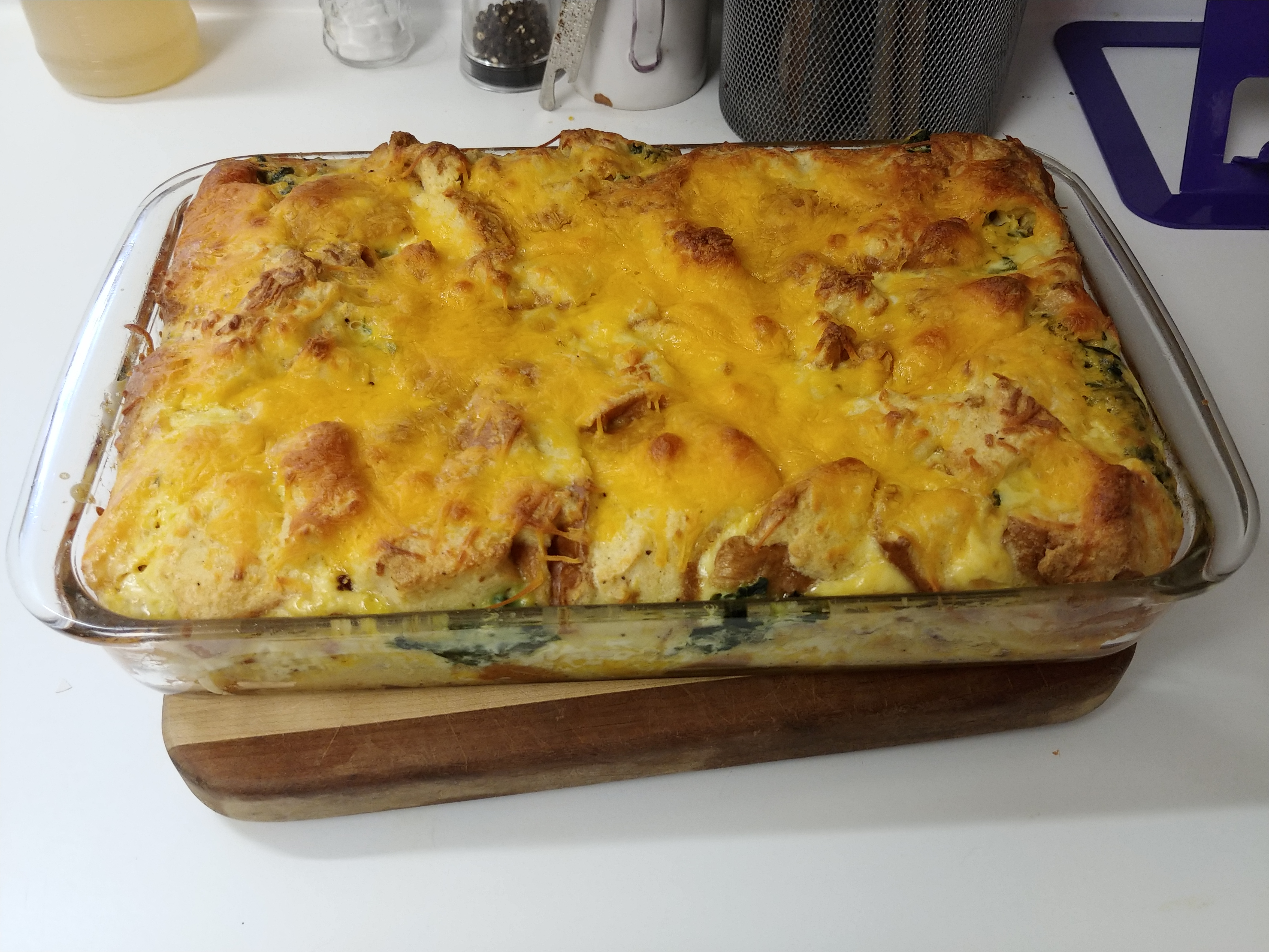 Bacon, Cheddar and Spinach Strata Donna