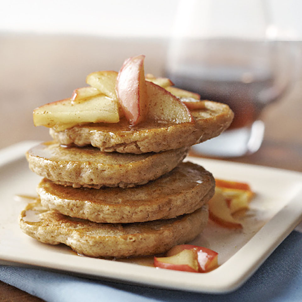 These mini whole-wheat and oatmeal pancakes are a satisfying way to start your day. They're flavored with yummy spices and topped with warm, sautéed apples and maple syrup. Close your eyes and you may just think you're eating apple pie for breakfast! Source: Diabetic Living Magazine