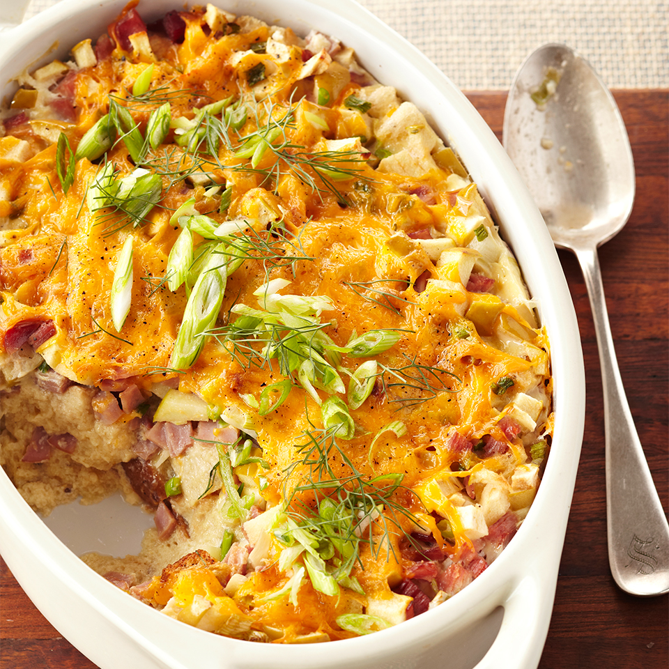 This casserole featuring eggs, cheese, ham, and fennel would also make a perfect breakfast for a special day.