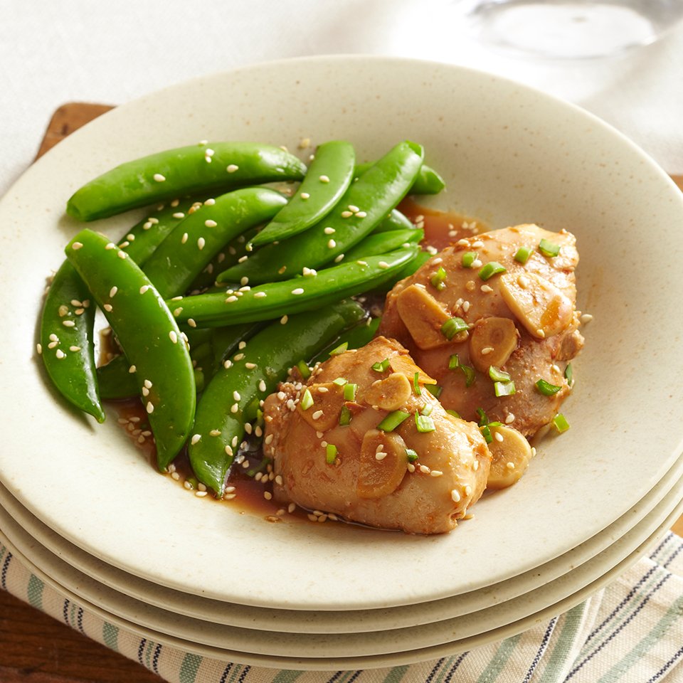 Chicken thighs are seasoned with Asian-style seasonings, then slow-cooked to tenderness and served with crisp sugar snap peas. Source: Diabetic Living Magazine