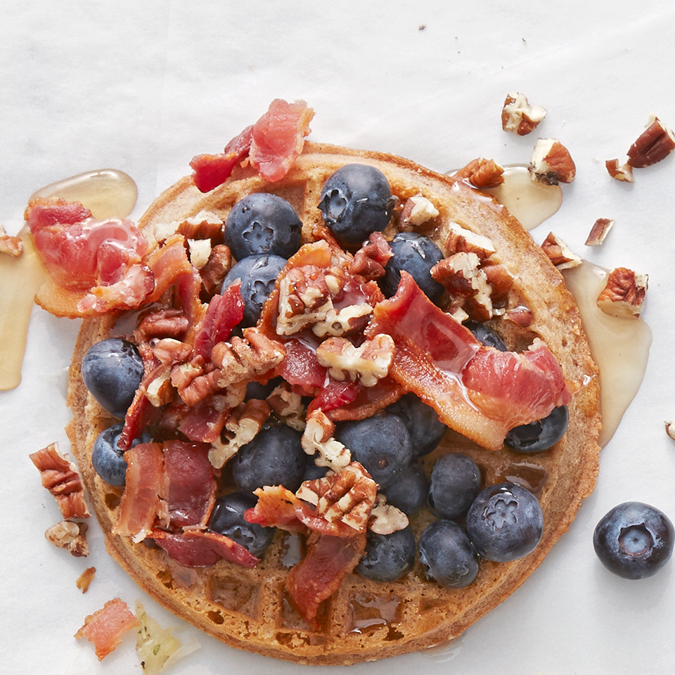 Kick off a special day with a special whole grain waffle topped with blueberries, bacon, pecans and maple syrup. It takes just a few minutes to whip up. Source: Diabetic Living Magazine