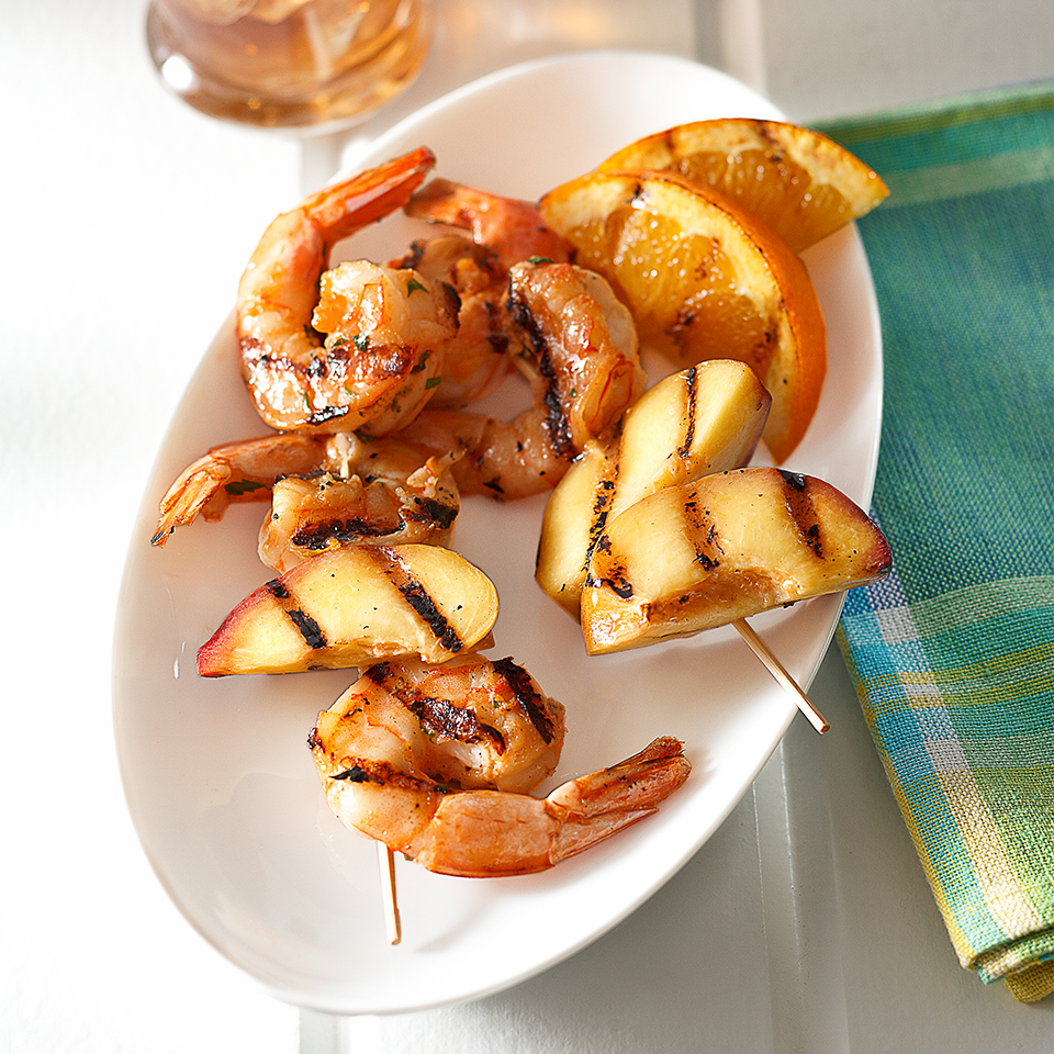 Spicy Grilled Shrimp and Nectarine Kabobs Diabetic Living Magazine