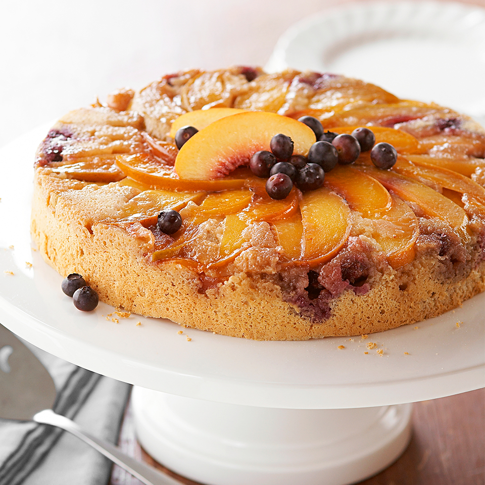 This upside-down cake is the perfect dessert for a summer party. Full of fresh blueberries and peaches, flavored with a touch of ginger and topped with vanilla frozen yogurt, it's a sweet and refreshing way to end a meal. Source: Diabetic Living Magazine