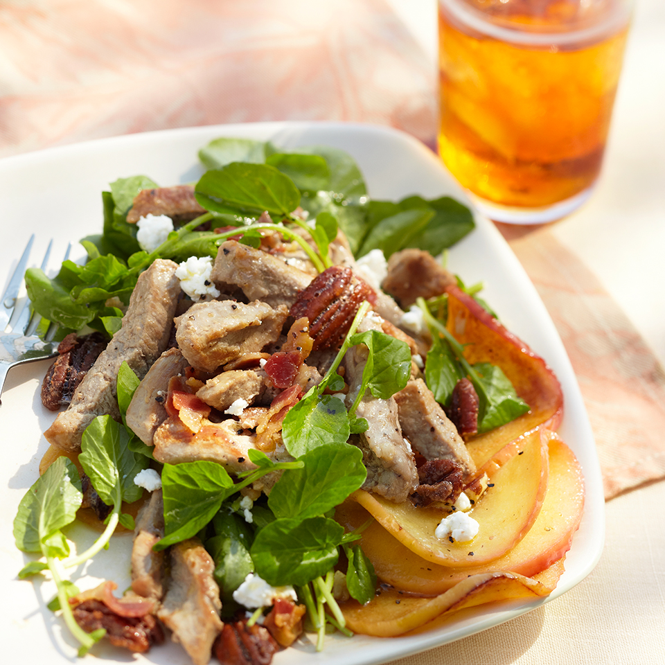 This salad is bursting with flavor! Peppery watercress, salty pancetta, fruity apples and sugary-sweet pecans are served with crumbled goat cheese and an apple-honey vinaigrette. Source: Diabetic Living Magazine