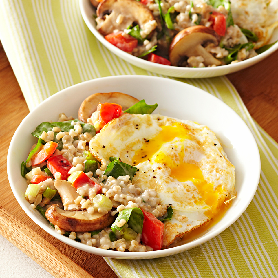 Steel-cut oats--with melted brie and reduced-fat cream cheese--take center stage in this risotto-like breakfast dish. They're mixed with spinach and vegetables and topped with a sunny-side-up fried egg. This hearty breakfast will satisfy you for hours. Source: Diabetic Living Magazine