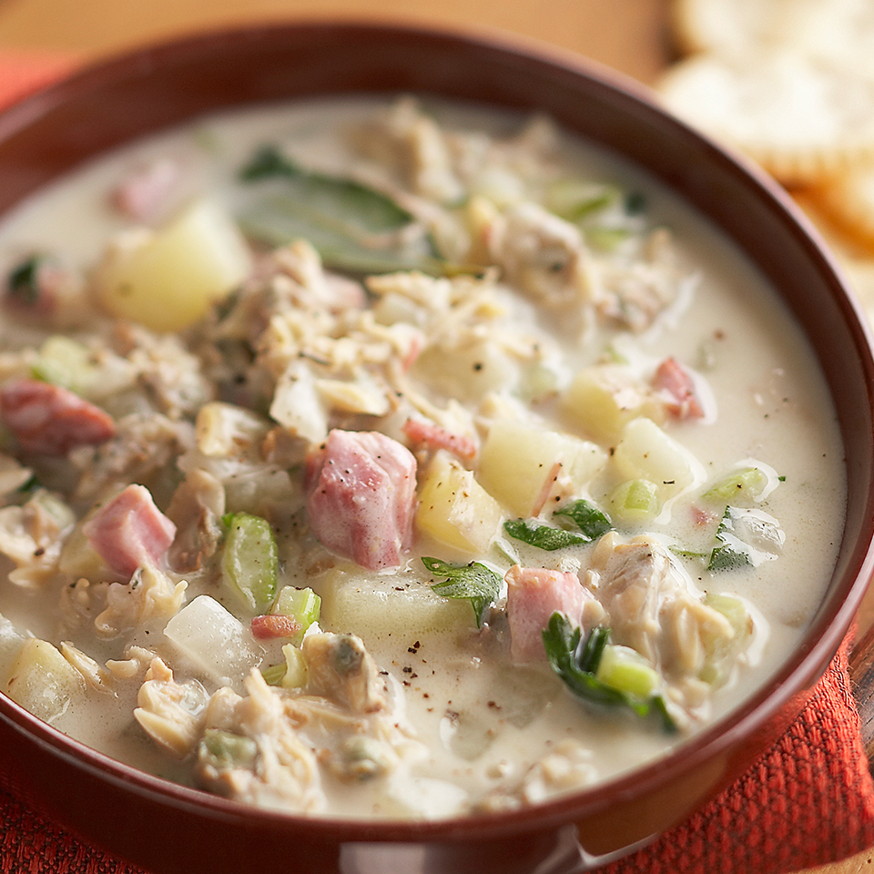 Plan to make this slow-cooker chowder recipe when you have a busy day at work. Put in just a few minutes of prep in the morning and you'll be rewarded with a hearty clam chowder come dinnertime. Source: Diabetic Living Magazine