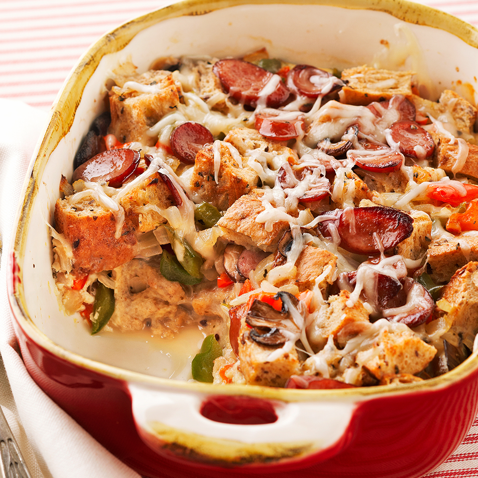 Have a houseful of guests? Let them sleep in while you prepare this hearty breakfast strata. Cubes of a whole-grain baguette soak up the egg and milk mixture and are combined with smoked turkey sausage, sweet peppers, onions and mushrooms in this crowd-pleasing dish. Source: Diabetic Living Magazine