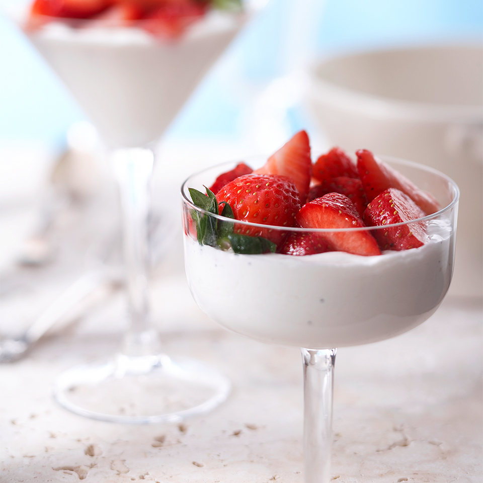 This creamy Italian dessert is flavored with vanilla bean and topped with fresh strawberries. Feel free to mix it up and substitute blueberries or raspberries, or a combination of all three! Source: Diabetic Living Magazine