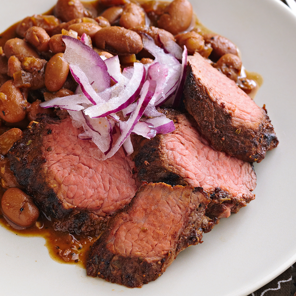 Coffee-Rubbed Beef with Red-Eye Beans Diabetic Living Magazine