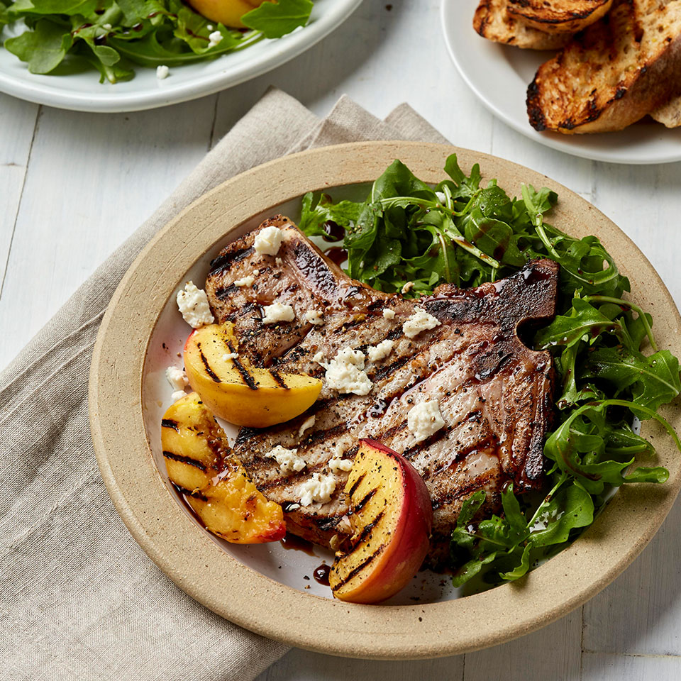 This easy grilling recipe sears both the pork and the peaches on the grill. When peaches are not in season, you can make this recipe with pears or apples instead. Source: Diabetic Living Magazine, Fall 2018