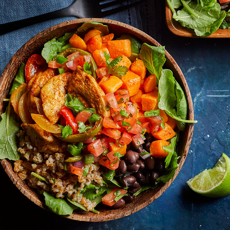 These satisfying bowls are chock full of protein and fiber, thanks to chicken breast, black beans, sweet potatoes and bulgur—a versatile grain that has about 15 g fewer carbs (and more than twice the fiber) per cup than brown rice.