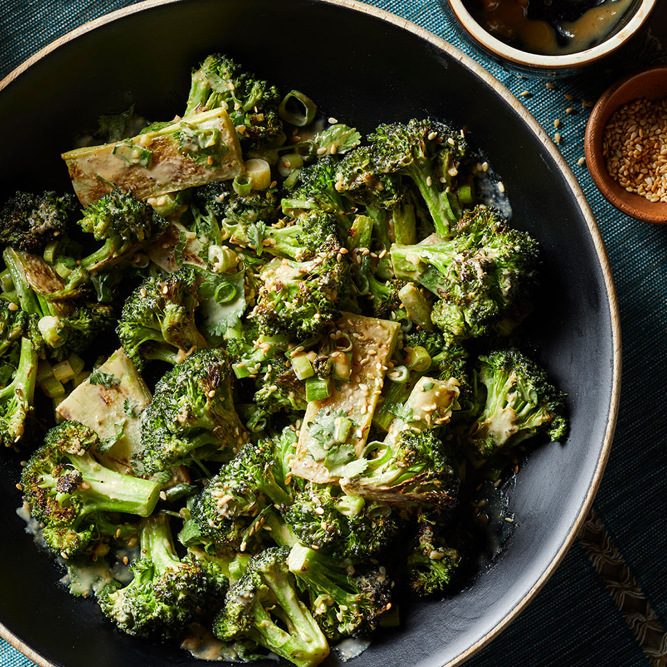 Roasted Broccoli with Garlicky Tahini Sauce Lauren Grant