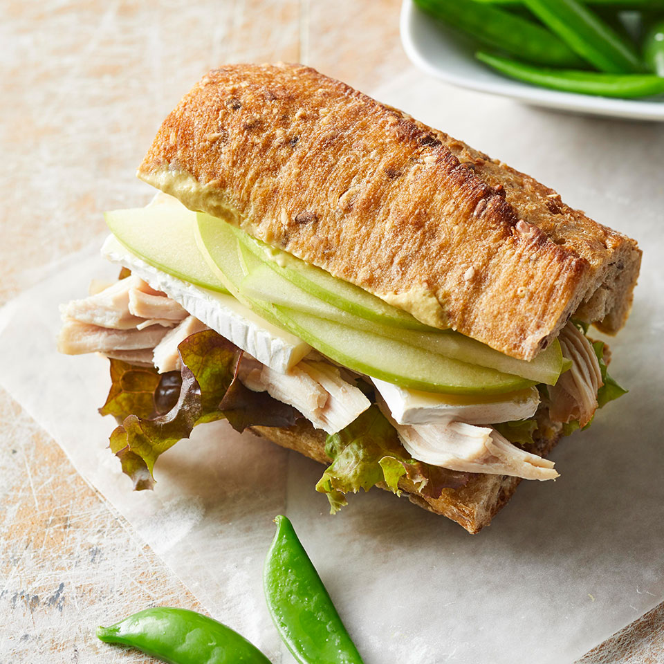 Hollowed-out baguettes hold a satisfying combo of tart apples, creamy Brie and protein-rich, shredded turkey. Source: Diabetic Living Magazine, Fall 2018