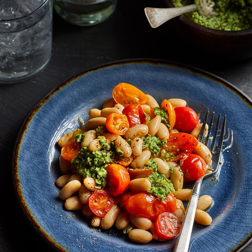 White beans are full of fiber and protein, both of which help slow digestion and curb blood sugar spikes. Canned beans are both easy to use and inexpensive--a win-win!