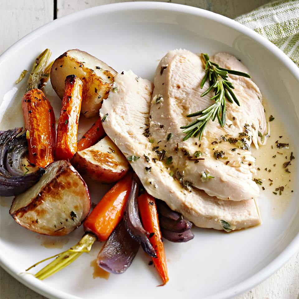 Roasted Chicken with Lemon and Roasted Root Vegetables Diabetic Living Magazine
