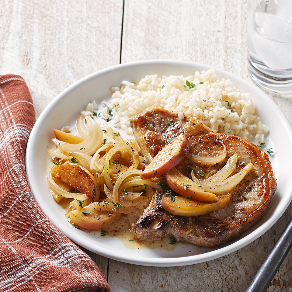 Seared Pork Chops with Apples and Onion Diabetic Living Magazine