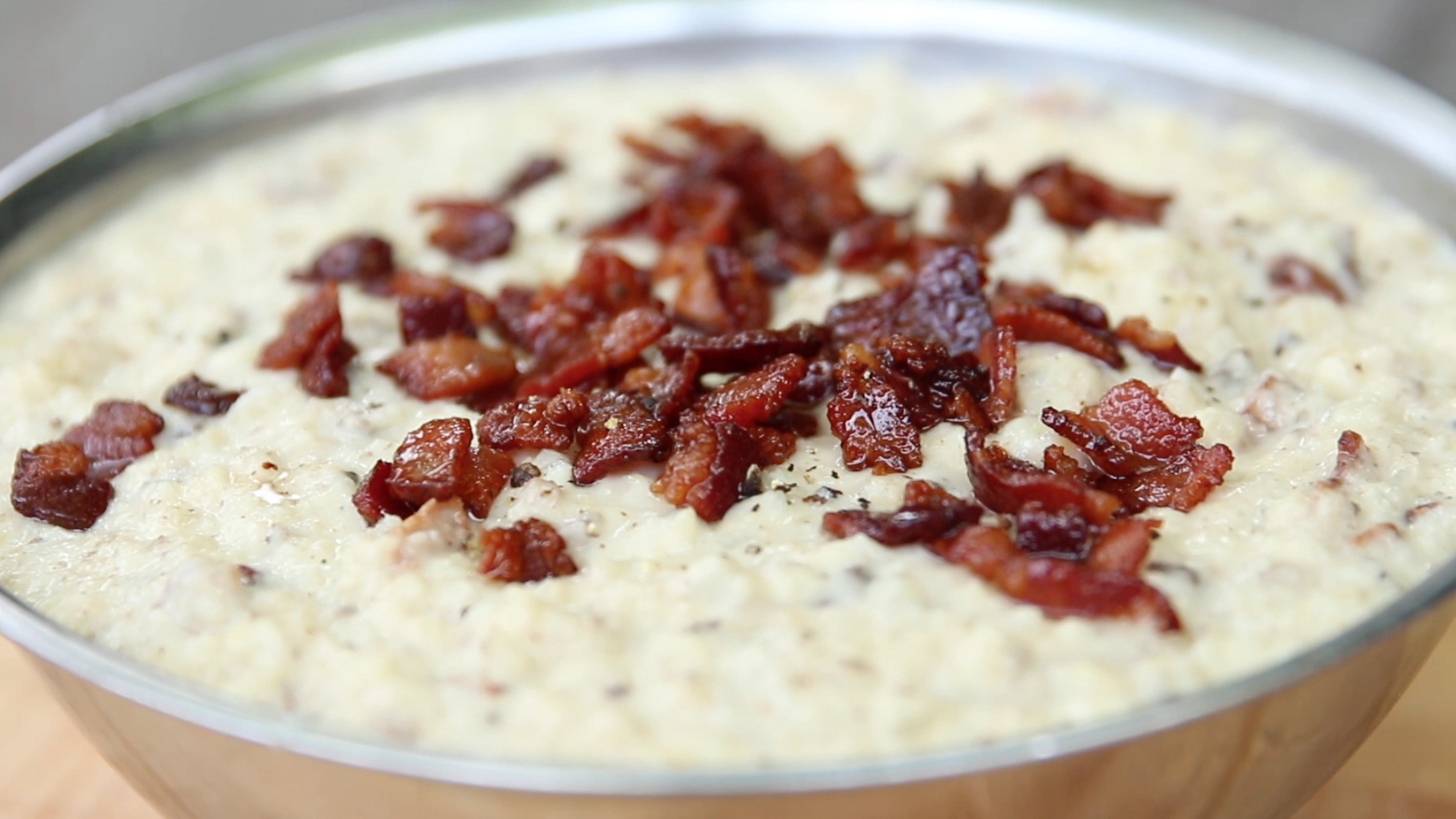 Cheesy Cauliflower Risotto with Bacon
