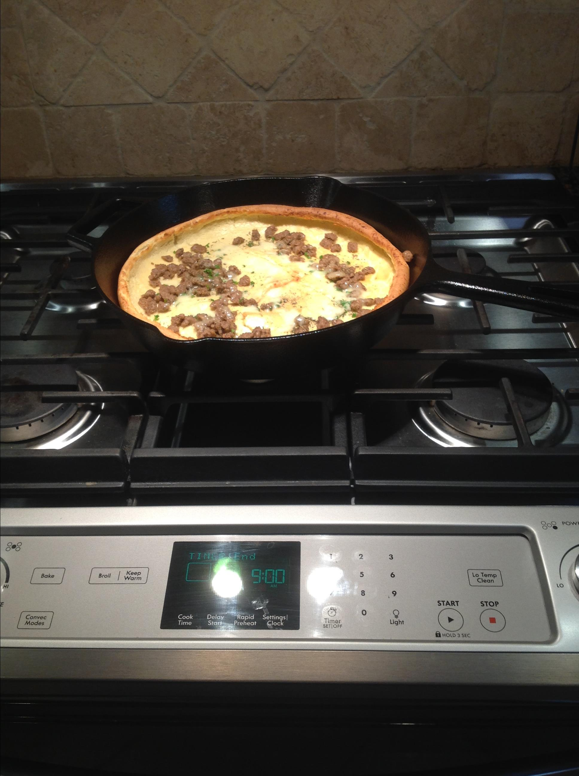 Herb, Sausage, and Cheese Dutch Baby
